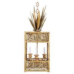 Regency Style Gilt Metal Lantern Chandelier or Light Fixture