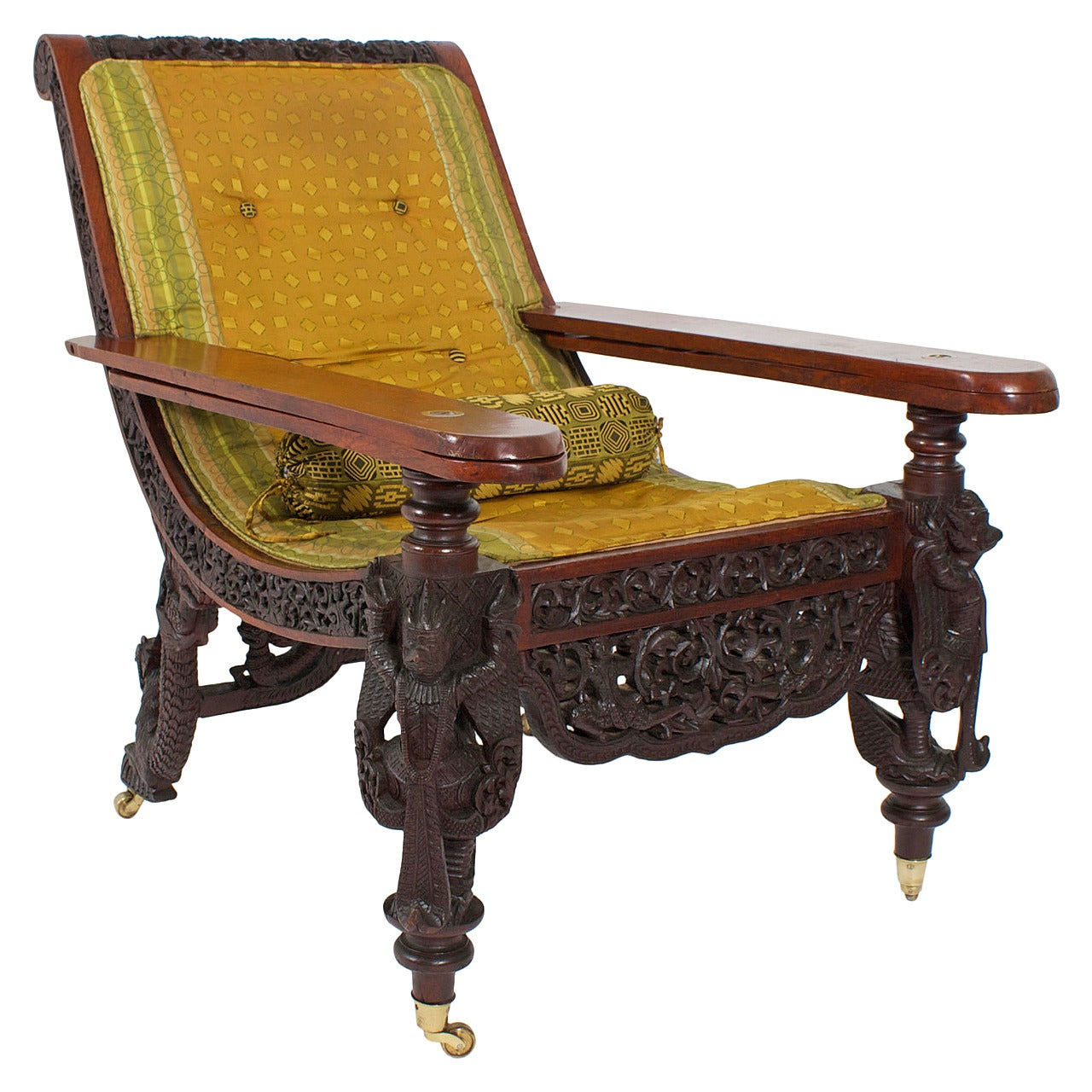 19th Century Anglo Indian Carved Plantation Or Planters Chair For