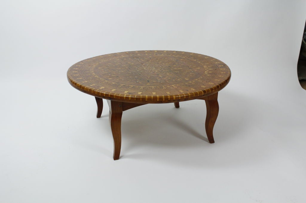 Round Inlaid Moroccan Cedar Cocktail Or Low Table At 1stdibs
