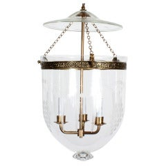 Etched Glass Bell Jar Hurricane Pendant Light or Lantern
