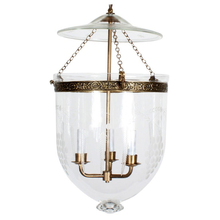 Etched Glass Bell Jar Hurricane Pendant Light Or Lantern At 1stdibs