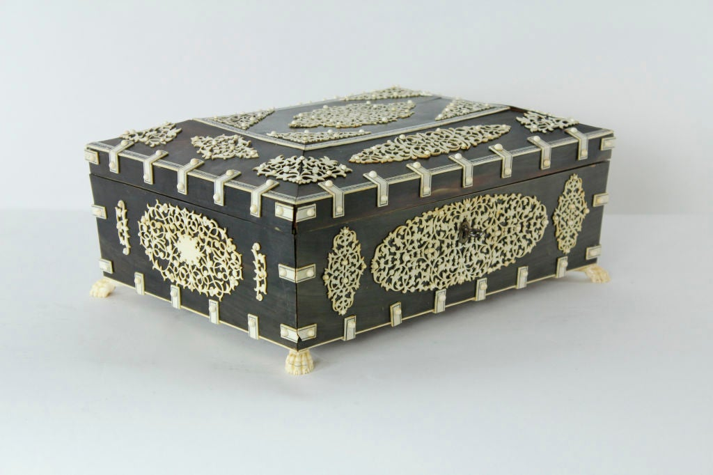 A Rare Large Bone and Ivory Anglo Indian Casket or Sewing Box 2