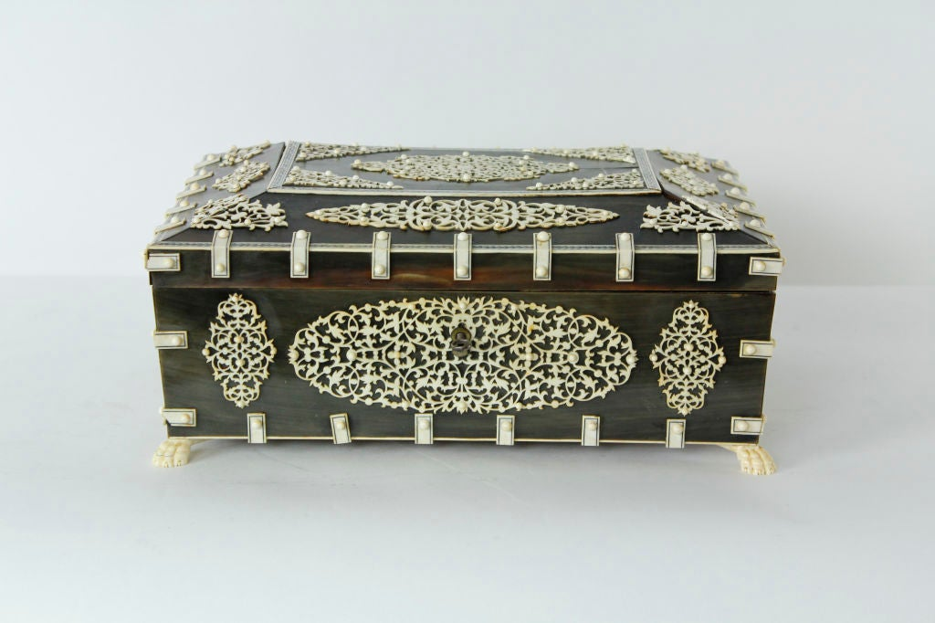 19th Century A Rare Large Bone and Ivory Anglo Indian Casket or Sewing Box For Sale