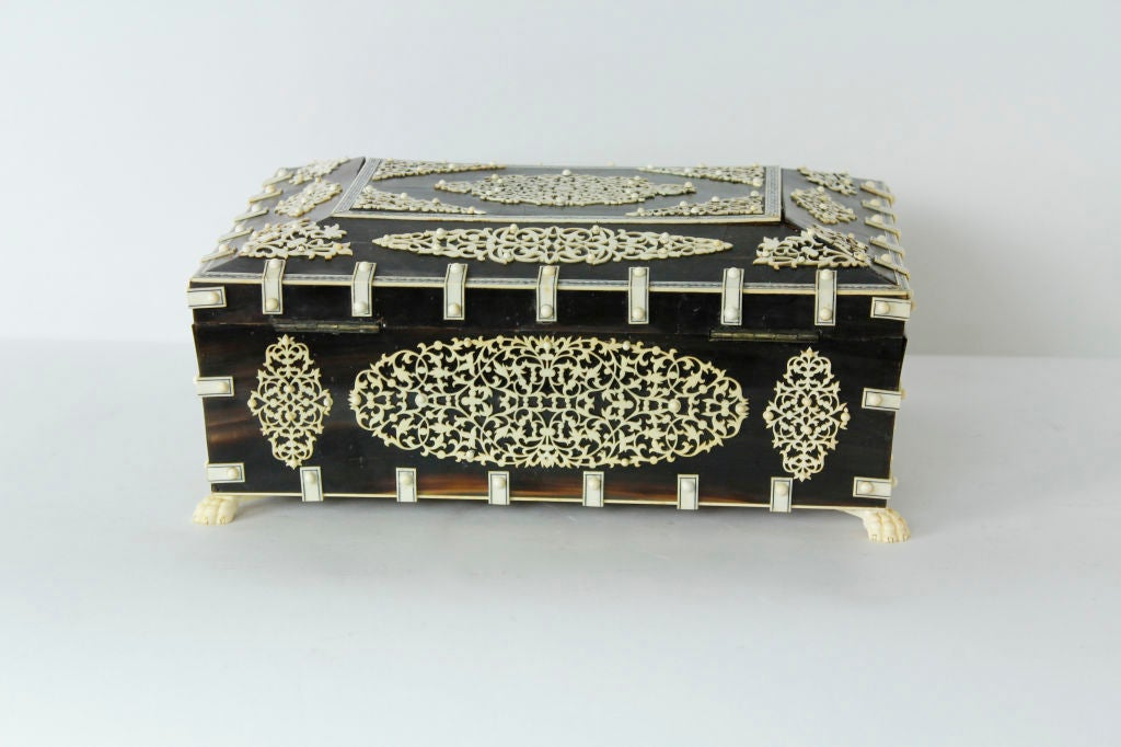 A Rare Large Bone and Ivory Anglo Indian Casket or Sewing Box For Sale 1