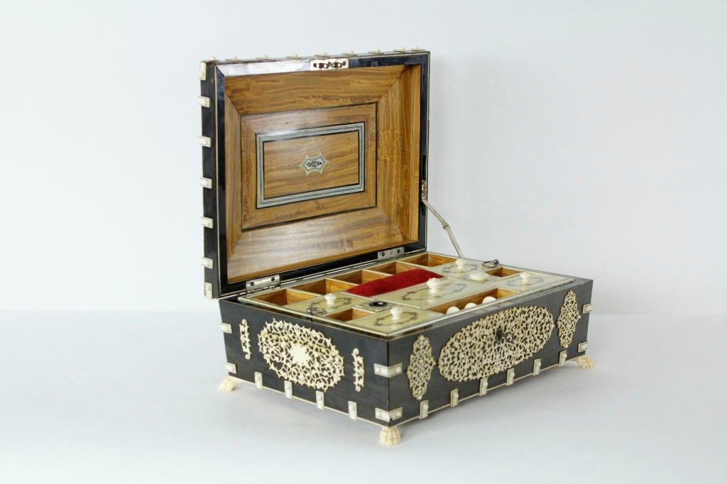 A Rare Large Bone and Ivory Anglo Indian Casket or Sewing Box 5
