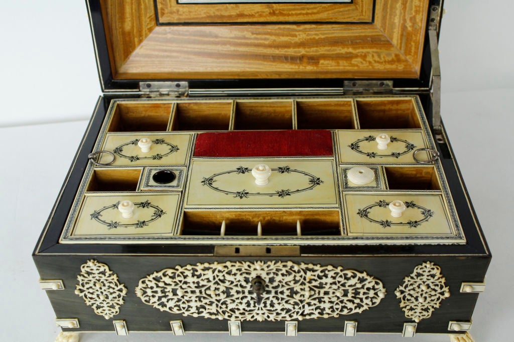 A Rare Large Bone and Ivory Anglo Indian Casket or Sewing Box For Sale 3