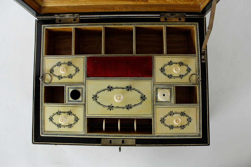 A Rare Large Bone and Ivory Anglo Indian Casket or Sewing Box For Sale 5