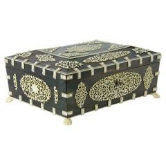 A Rare Large Bone and Ivory Anglo Indian Casket or Sewing Box