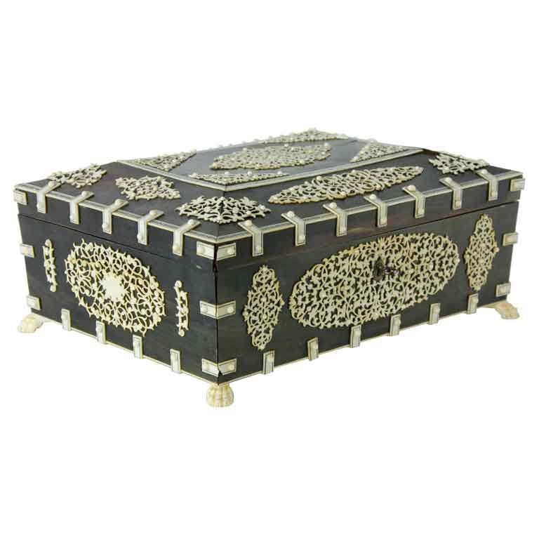 A Rare Large Bone and Ivory Anglo Indian Casket or Sewing Box 1