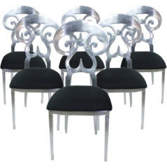 Set of 6 Custom Aluminum Biedermeier Style Dining Chairs