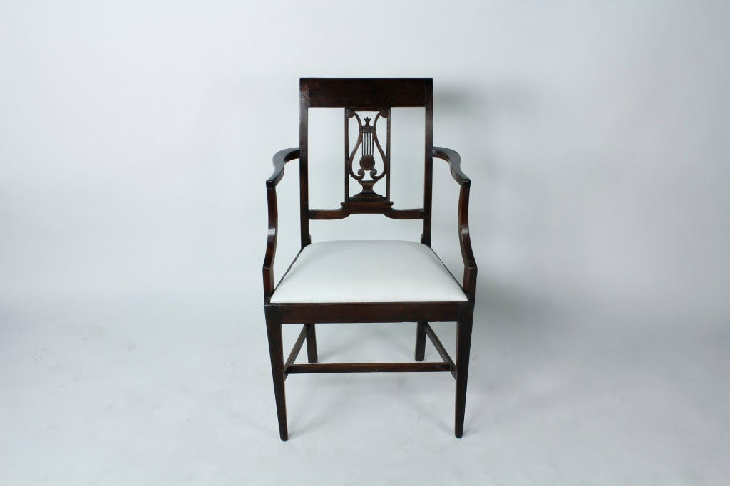 Set of Six 19th Century Neoclassical Style Armchairs In Excellent Condition For Sale In Palm Beach, FL