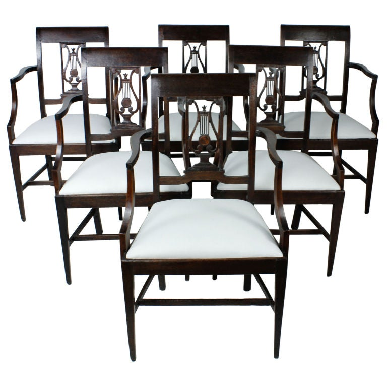 Set of Six 19th Century Neoclassical Style Armchairs For Sale