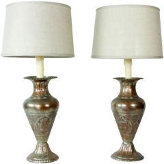Etched Silver over Copper Moroccan  Lamps
