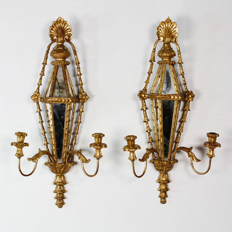 Pair of Carved and Gilt Mirrored Italian Wall Sconces 2