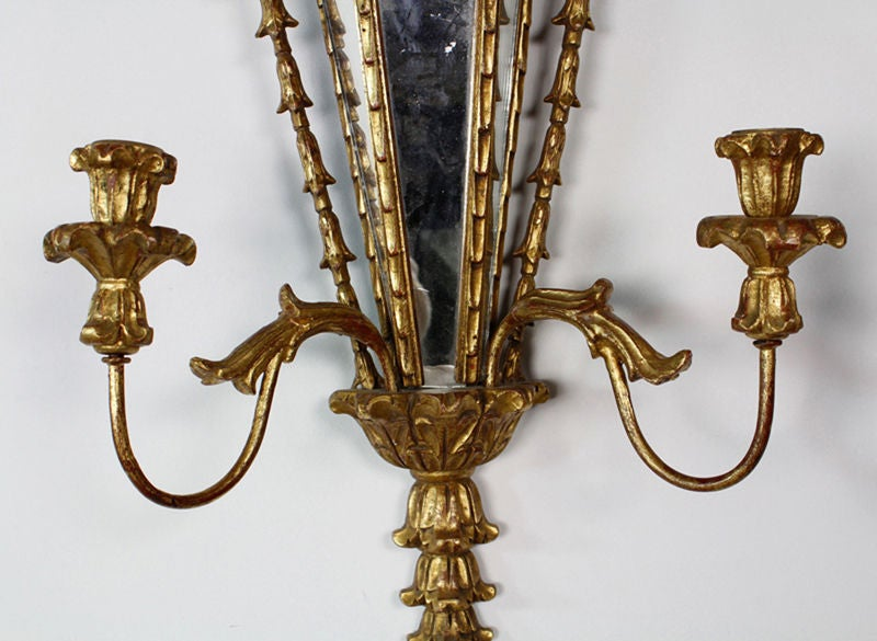 Pair of Carved and Gilt Mirrored Italian Wall Sconces 5