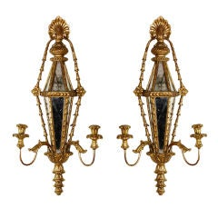 Pair of Carved and Gilt Mirrored Italian Wall Sconces