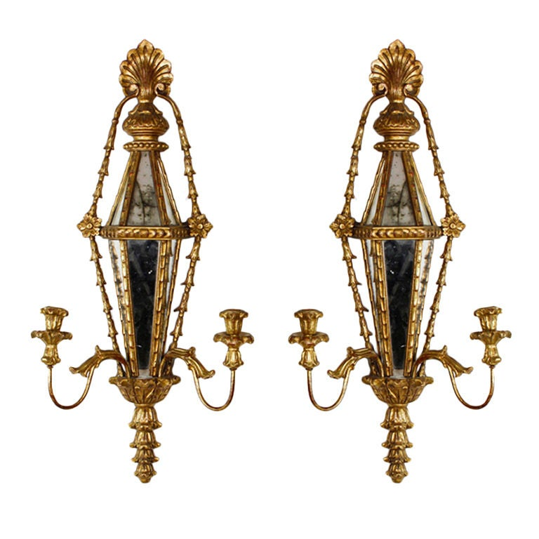 Pair of Carved and Gilt Mirrored Italian Wall Sconces 1