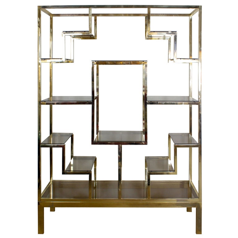 Baughman style brass plated display shelves at 1stdibs - Etagere 6 cases ...