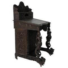 19th Century Carved Anglo-Indian Davenport Desk