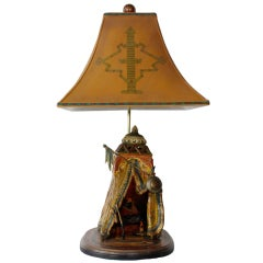 Painted Metal Orientalist Lamp with Great Details