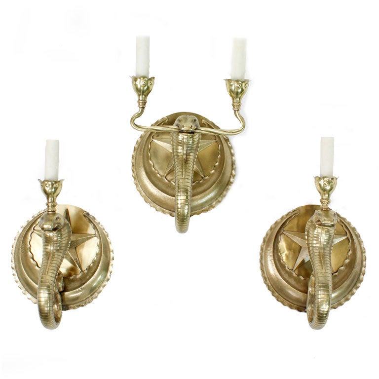 Set of 3 Cobra Wall Sconces in Brass at 1stdibs