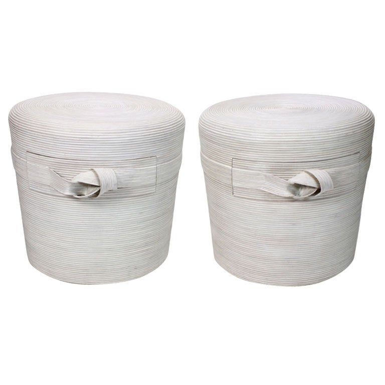 A Pair Of Labeled Betty Cobonpue Ribbon Rattan Nightstands At 1stdibs