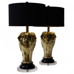 Pair of Art Deco Style Tri Elephant Lamps