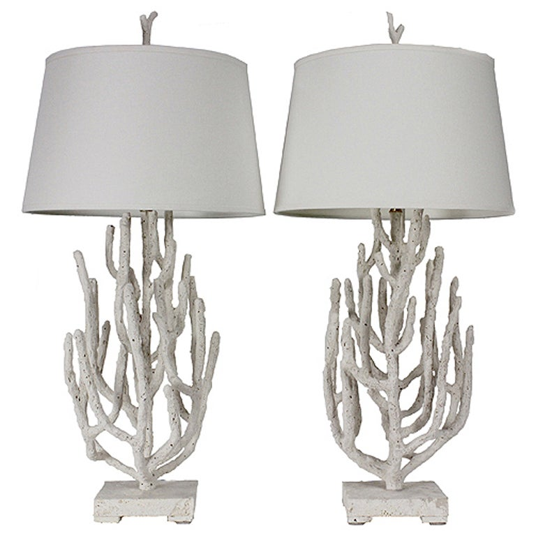 Pair of Faux Coral Table Lamps on Coquina Stone Bases at 1stdibs