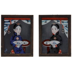 19th Century Chinese Reverse Glass Paintings