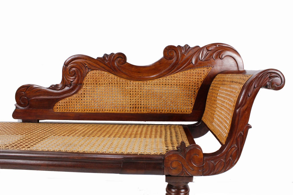 Carved Mahogany And Cane West Indies Chaise Longue At 1stdibs