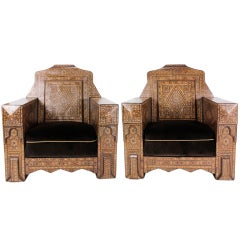 Pair of Large and Impressive Syrian Inlaid Club or Armchairs