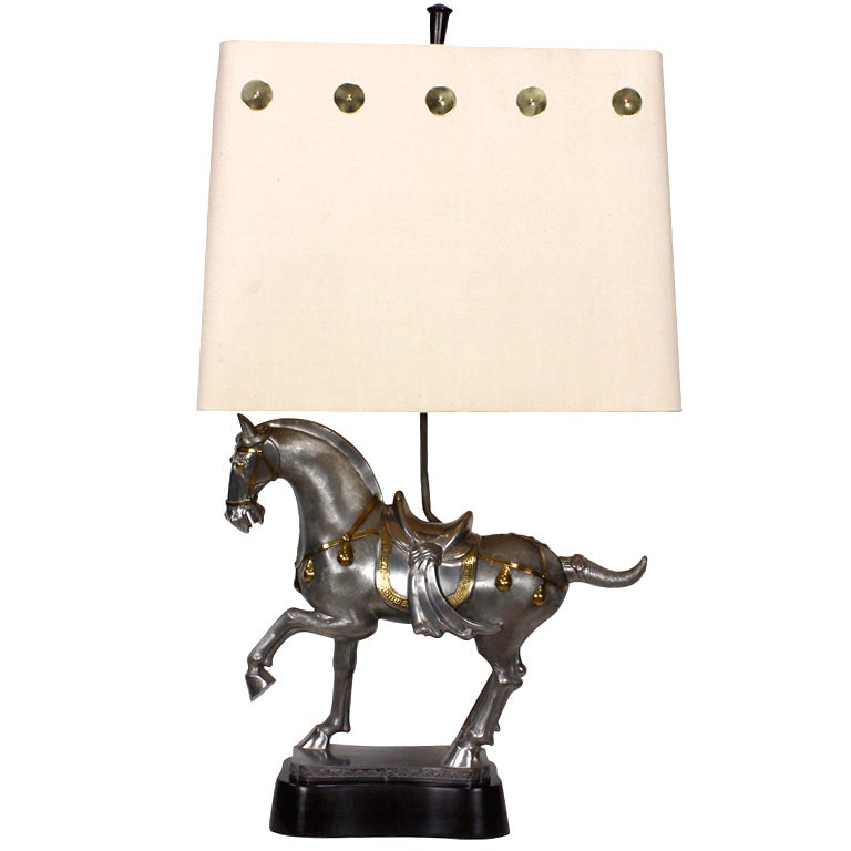Very Large Custom Designed Horse Lamp And Shade For Sale