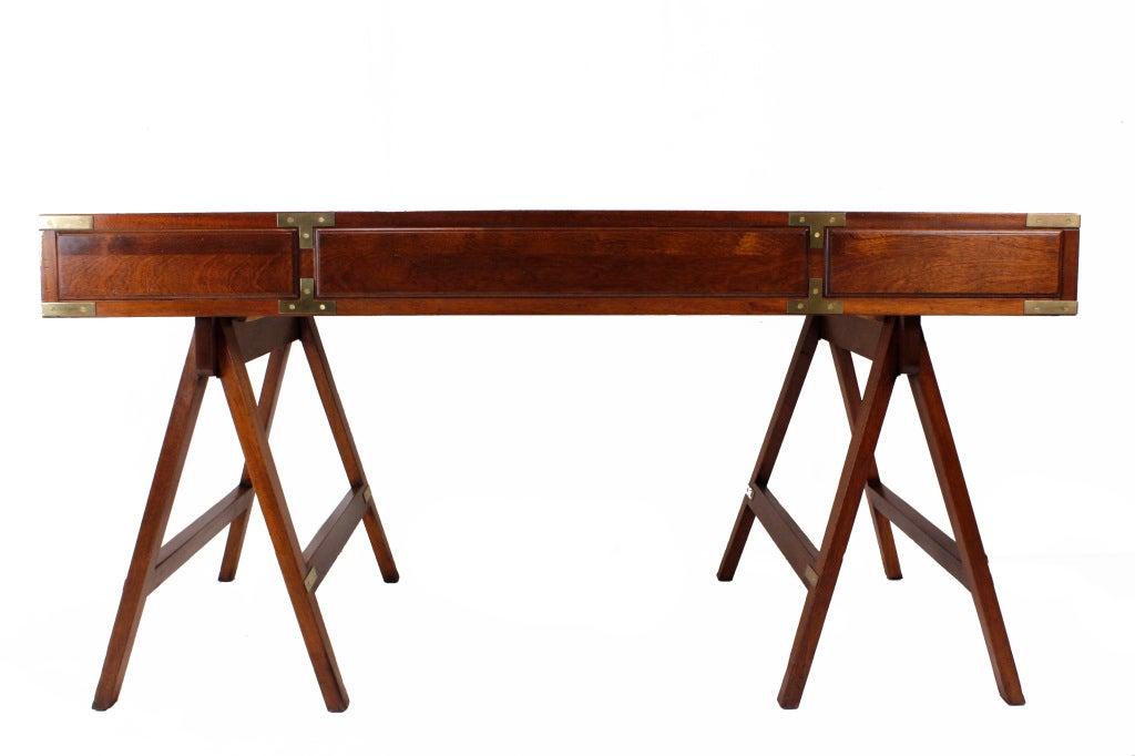 A mahogany campaign style sawhorse leg desk at 1stdibs Sawhorse desk legs