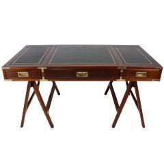 A Mahogany Campaign Style Sawhorse Leg Desk