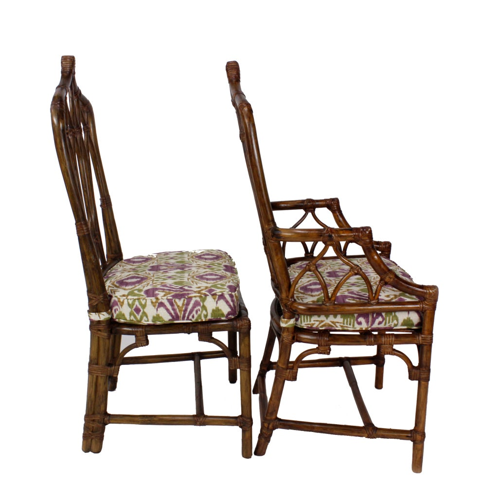 Set Of 8 Mcguire Rattan Chairs At 1stdibs