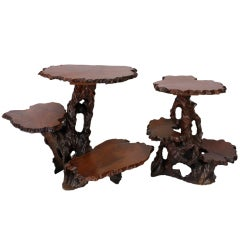 Pair of Three-Tiered Carved Walnut Tables