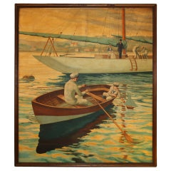 Huge Painting of A Private Yacht Scene by William Skilling