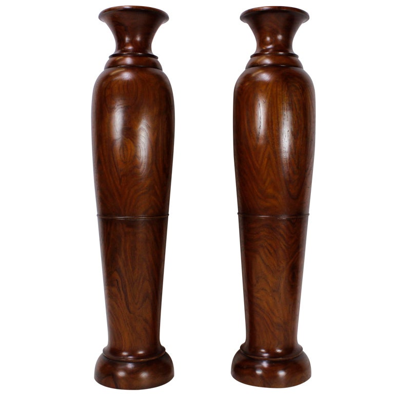 Pair of Teak Floor Urns