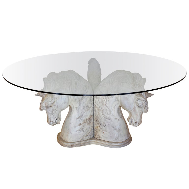 A Large Carved And Painted Three Horse Head Table At 1stdibs