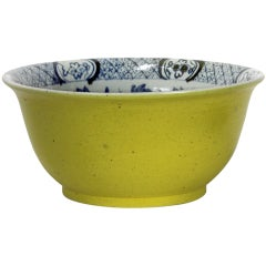 Large Chinese Export Blue and White Bowl with Yellow Exterior