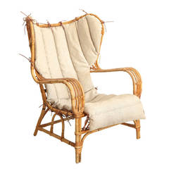 Vintage Bamboo and Cane Wingback Lounge Chair