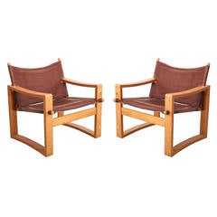 Danish Safari Chairs in Bentwood and Canvas