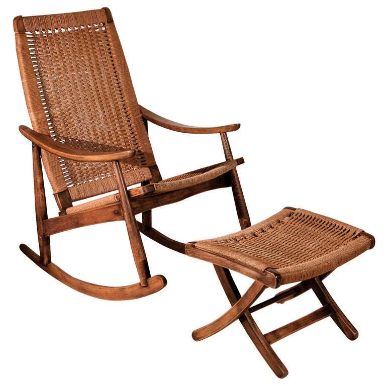Hans Wegner Style Rush Rocking Chair and Ottoman