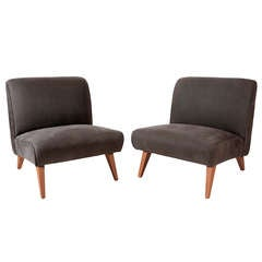 Pair of 1940s Grey Armless Slipper Chairs