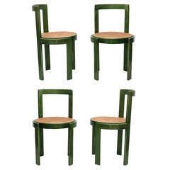 Set of Four Green Stain and Cane Round Seat Dining Chairs