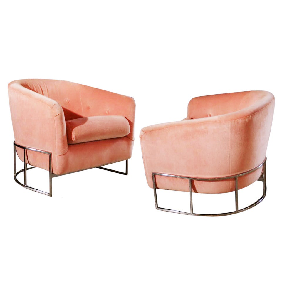 Pair Of Milo Baughman Chrome Tufted Barrel Chairs At 1stdibs