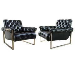 Pair of Milo Baughman Bronze Tufted Leather Arm Chairs