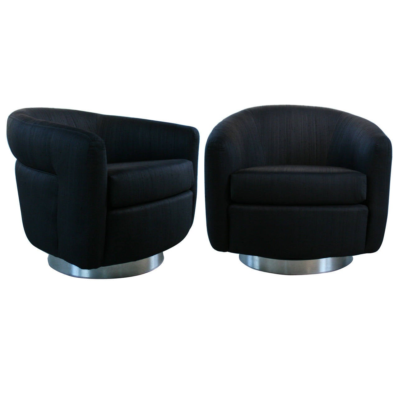 Pair Of Milo Baughman Black Swivel And Rocking Barrel