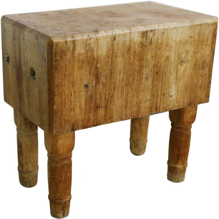 Huge 18th Century French Butcher Block Table W Wooden