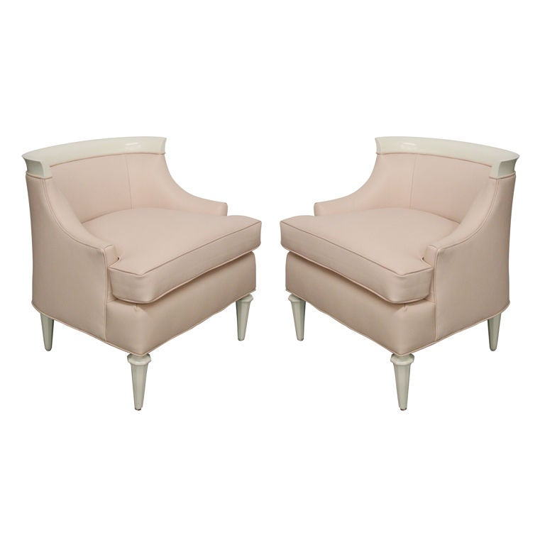 pair of leather side chairs  in the manner of dorothy
